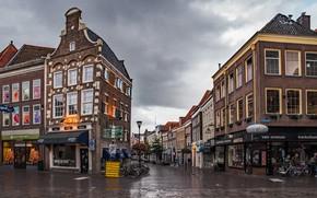 Картинка дорога, облака, пасмурно, дома, Нидерланды, улицы, велосипеды, Zwolle