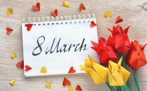 Обои цветы, бумага, colorful, сердечки, тюльпаны, блокнот, 8 марта, оригами, tulips