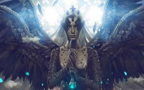 Обои фантазия, инной мир, мистика, знаки, колба, aeternum, демон, ангел, Carlos-Quevedo, крылья