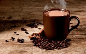 Картинка кофе, горячий, пар, чашка, напиток, корица, зёрна, боке