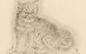 Картинка кот, серый, хмурый, 1930, Цугухару, Фудзита, Книга Кошек