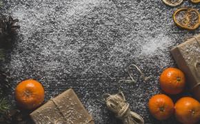Картинка подарок, новый год, цитрус, мандарин