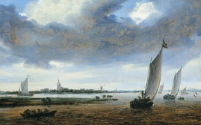 Картинка пейзаж, лодка, картина, парус, Salomon van Ruysdael, Соломон ван Рёйсдал, Вид на Бевервейк со Стороны …