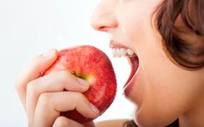 Картинка apple, woman, mouth, teeth