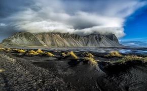 Обои облака, горы, Исландия, Iceland, Vestrahorn