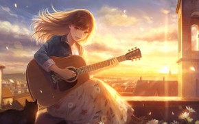 Картинка кошка, девушка, солнце, цветы, город, гитара, by romiy