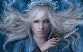 Картинка девушка, арт, снежная королева, фЭнтези, Sze Jones, 3D illustration for Book Cover