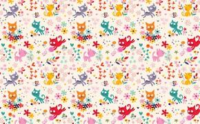 Обои детская, вектор, игра, цветочки, котёнок, арт, клубок