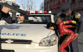 Картинка женщина, полиция, автомобиль, задержание, Spider-Woman gets frisked