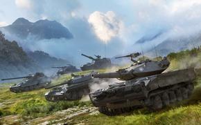 Картинка Пыл, Легкие Танки, Wargaming Net, Танки, Горы, Rheinmetall Panzerwagen, AMX 13 105, Т-100 ЛТ, XM551 ...