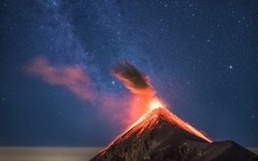 Картинка небо, звезды, ночь, природа, гора, вулкан