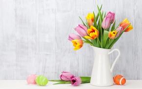 Обои цветы, Пасха, тюльпаны, happy, pink, flowers, tulips, spring, Easter, eggs, decoration, розовые тюльпаны, яйца крашеные