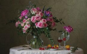 Картинка малина, бокал, розы, букет, абрикос