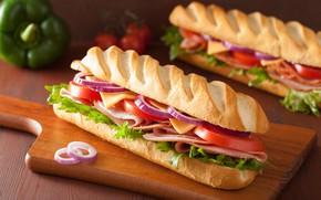 Картинка булка, салат, гамбургер, бутерброд, колбаса, сыр