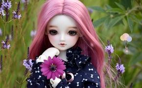 Картинка цветы, кукла, девочка