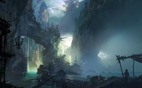 Картинка city, fantasy, game, rocks, houses, waterfall, League of Legends, castle, ship, buildings, fan art, artwork, …