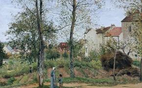 Картинка деревья, люди, дома, картина, Камиль Писсарро, Пейзаж возле Лувесьена