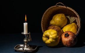 Обои свеча, натюрморт, плоды