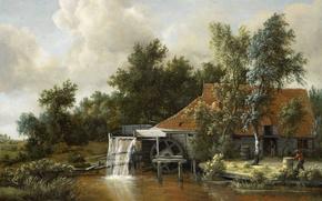 Обои масло, пейзаж, Водяная Мельница, Мейндерт Хоббема, картина