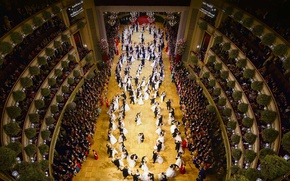 Обои танец, Австрия, зал, Венская государственная опера, оперный бал