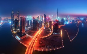 Картинка свет, ночь, огни, вечер, Дубай, ОАЭ
