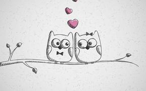 Обои любовь, совы, рисунок, сердечки
