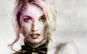 Картинка девушка, бабочка, портрет, блондинка, галстук