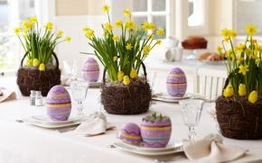 Картинка цветы, цыплята, пасха, декор, Easter, корзинки, букеты, праздник Весны, нарциссы жёлтые