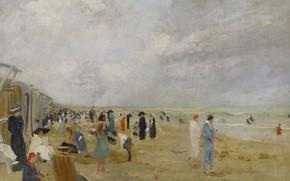 Картинка картина, жанровая, Эрнст Опплер, На Пляже, Ernst Oppler