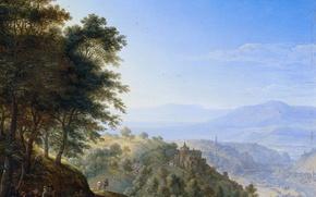 Картинка масло, картина, Герман Сафтлевен, Горный Пейзаж в Боппарде на Рейне