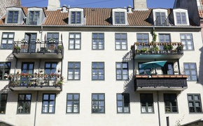 Картинка Building, балконы, Здание, Город, Town, Balcony