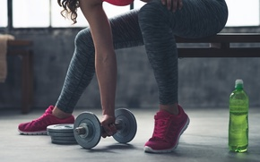 Картинка woman, water, gym, Fitness, dumbbell, physical exercise