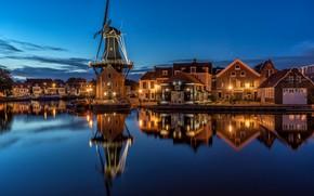 "Обои ночь, Netherlands, Нидерланды, North Holland, огни, Molen ""De Adriaan"", Голландия, Haarlem"