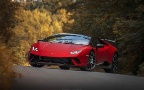Обои RED, Huracan, Lambordgini, autumn