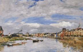 Обои Эжен Буден, картина, Eugene Boudin, Трувиль. Порт, город, гавань