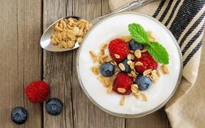 Картинка ягоды, завтрак, йогурт, granola, овсянка