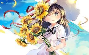 Обои цветы, девочка, подсолнухи, аниме