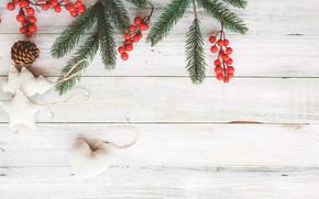 Картинка игрушки, Ягоды, Новый год, украшение, Шишки, ветки ели