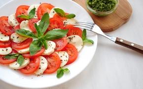 Обои моцарелла, салат, базилик, помидор