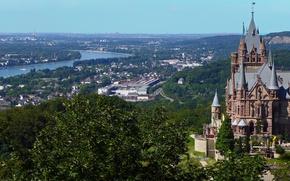 Картинка город, река, замок, Германия, панорама, Germany, река Рейн, Северный Рейн-Вестфалия, North Rhine-Westphalia, Rhine River, Замок …
