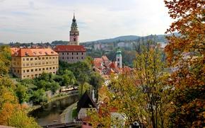 Картинка осень, деревья, ветки, мост, город, дома, Чехия, речка, Чески-Крумлов, Cesky Krumlov
