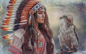 Обои девушка индеец, перья, живопись, птица