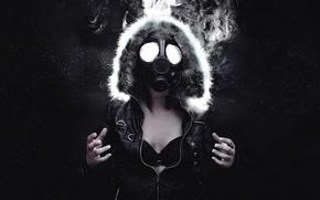 Картинка девушка, космос, звезды, дым, куртка, капюшон, противогаз