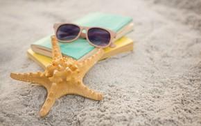 Картинка песок, море, пляж, лето, отдых, звезда, очки, книга, summer, beach, каникулы, sand, vacation, starfish, sunglasses