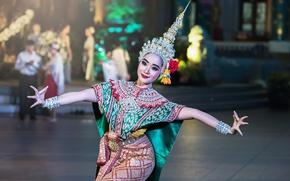 Обои девушка, свет, поза, танец, изгиб, light, girl, пальцы, красивая, Thailand, таиланд, beautiful, thailand
