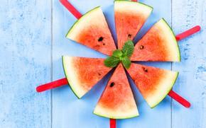 Картинка Арбуз, мята, mint, Watermelon, дольки семена, slices seeds
