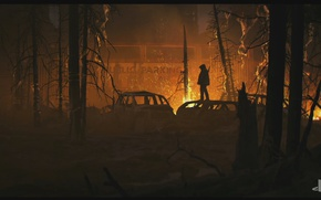 Картинка лес, пожар, Naughty Dog, The Last of Us Part II
