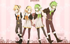 Картинка фон, группа, аниме, арт, Vocaloid, Вокалоид, персонажи