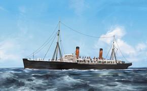 Картинка волны, трубы, корабль, Transatlantic Ships, campania