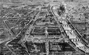 Картинка река, Париж, здания, архитектура, мосты, черно - белый, достопримечательности, The City of Paris in France